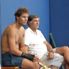 Shirtless Rafael Nadal with Uncle Toni in Manacor