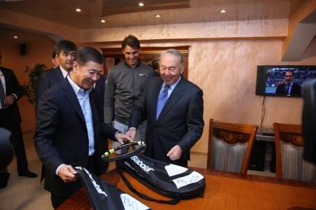 Jo-Wilfried Tsonga and Rafael Nadal meet Kazakh president Nursultan Nazarbayev