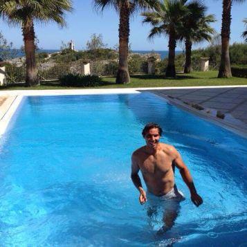 Rafael Nadal in the pool (April 5, 2014)