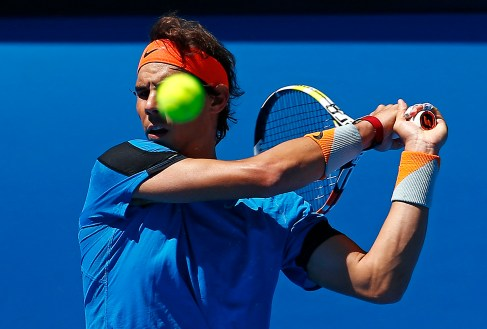 Spain's Rafael Nadal hits a ball during a practice session at the Rod Laver Arena in Melbourne Park