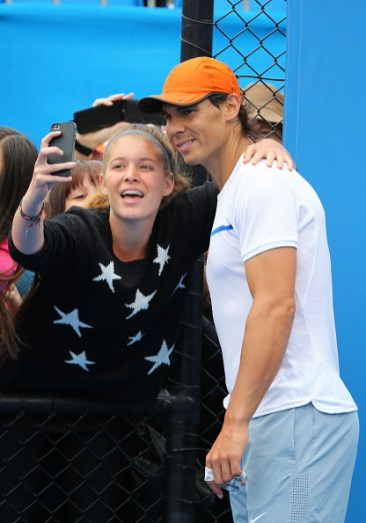 Rafael Nadal takes a selfie with fan at practice Australian Open 2015