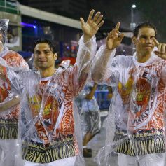 Spanish tennis players Nadal and Ferrer attend the annual carnival parade in Rio de Janeiro