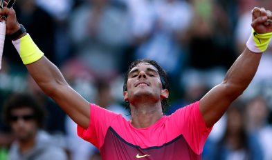 Spain's Nadal reacts after defeating Argentina's Berlocq in their semi-final tennis match at the ATP Argentina Open in Buenos Aires