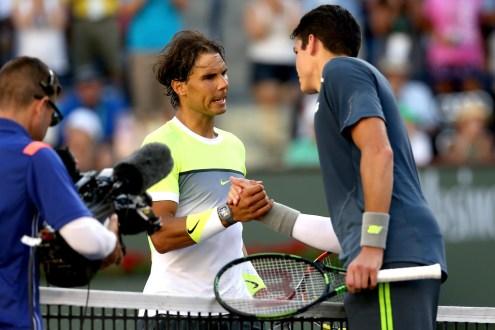 Rafael Nadal plays against Milos Raonic at Indian Wells 2015 (2)