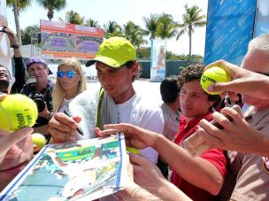 Rafael Nadal took time to sign autographs and pose with fans in Miami