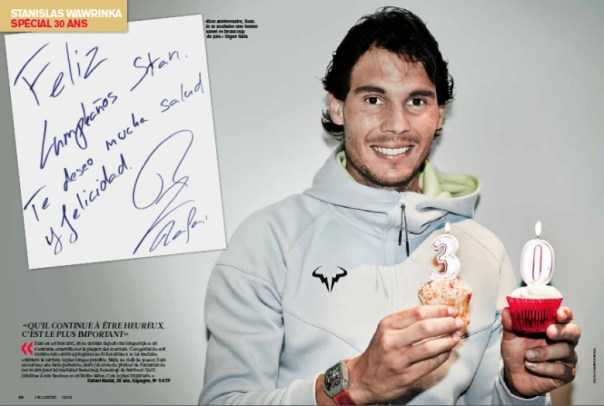 )Rafael Nadal's birthday message to Stan Wawrinka) Photo via Corinne Dubreuil