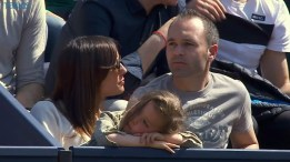 Andres Iniesta watching Rafael Nadal at Barcelona Open 2015