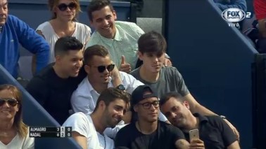 Neymar takes a selfie during Rafael Nadal match at Barcelona Open