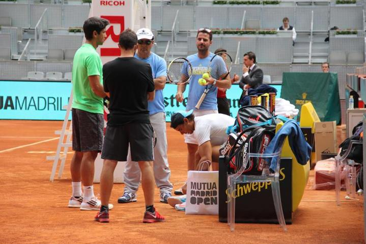 Rafael Nadal and Fernando Verdasco practicing in Madrid