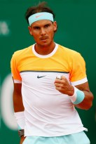 Rafael Nadal fist pump during the match against John Isner in Monte Carlo