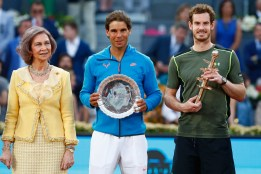 Andy Murray of Great Britain holds the winners trophy with runner up Rafael Nadal of Spain and along side Queen Sofia of Spain in the final during day nine of the Mutua Madrid Open tennis tournament at the Caja Magica on May 10, 2015 in Madrid, Spain. (May 9, 2015 - Source: Julian Finney/Getty Images Europe)