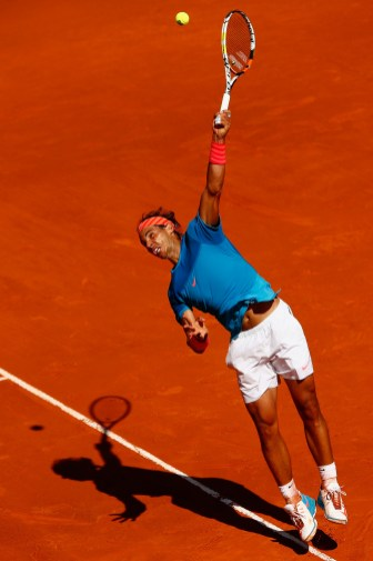 MADRID, SPAIN - MAY 09: Rafael Nadal of Spain in action against Tomas Berdych of Czech Republic in the semi finals during day eight of the Mutua Madrid Open tennis tournament at the Caja Magica on May 9, 2015 in Madrid, Spain. (Photo by Julian Finney/Getty Images)