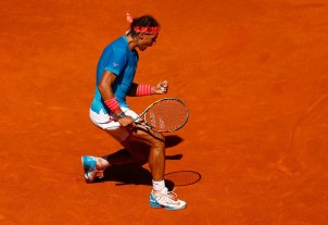 Rafael Nadal of Spain celebrates a point against Tomas Berdych of Czech Republic in the semi finals during day eight of the Mutua Madrid Open tennis tournament at the Caja Magica on May 9, 2015 in Madrid, Spain. (May 8, 2015 - Source: Julian Finney/Getty Images Europe)