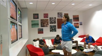 Rafael Nadal in the locker room before the match Roland Garros 2015