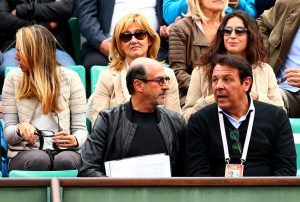 Rafael Nadal of Spain's mother Ana Maria Parera and girlfriend Xisca Perello sit behind his father Sebastian Nadal before his men's singles match against Quentin Halys of France on day three of the 2015 French Open at Roland Garros on May 26, 2015 in Paris, France. (May 25, 2015 - Source: Clive Brunskill/Getty Images Europe)