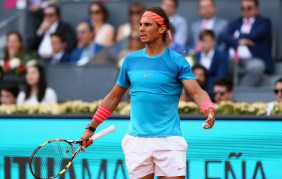 MADRID, SPAIN - MAY 10: Rafael Nadal of Spain plays shows his frustration against Andy Murray of Great Britain in the mens final during day nine of the Mutua Madrid Open tennis tournament at the Caja Magica on May 10, 2015 in Madrid, Spain. (Photo by Clive Brunskill/Getty Images)