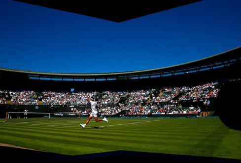 General view of No1 Court as Rafael Nadal of Spain plays in his Gentlemens Singles first round match against Thomaz Bellucci of Brazil during day two of the Wimbledon Lawn Tennis Championships at the All England Lawn Tennis and Croquet Club on June 30, 2015 in London, England. (June 29, 2015 - Source: Julian Finney/Getty Images Europe)