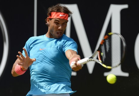 STUTTGART, GERMANY - JUNE 14: Rafael Nadal of Spain returns against Viktor Troicki of Serbia during the Men's Singles Final on day nine of Mercedes Cup 2015 on June 14, 2015 in Stuttgart, Germany. (Photo by Daniel Kopatsch/Bongarts/Getty Images)