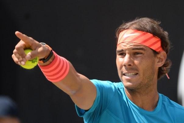 Spain's Rafael Nadal  attends  the final match of the ATP Mercedes Cup tennis tournament against  Viktor Troicki from Serbia, in Stuttgart, Germany, Sunday June 14, 2015. ( Marijan Murat/dpa, via AP)