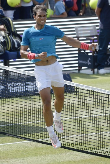 STUTTGART, GERMANY - JUNE 14: Rafael Nadal of Spain celebrates after his final match against Viktor Troicki of Serbia on day nine of Mercedes Cup 2015 on June 14, 2015 in Stuttgart, Germany. (Photo by Daniel Kopatsch/Bongarts/Getty Images)