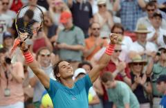 Rafael Nadal of Spain celebrates after his victory in the semifinal of the ATP tennis tournament against Monfils of France in Stuttgart, Germany, 13 June 2015. (Tenis, Francia, Alemania, España) EFE/EPA/Marijan Murat