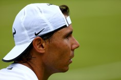 LONDON, ENGLAND - JUNE 27: Rafael Nadal of Spain during a practice session prior to the Wimbledon Lawn Tennis Championships at the All England Lawn Tennis and Croquet Club on June 27, 2015 in London, England. (Photo by Clive Brunskill/Getty Images)