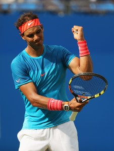 LONDON, ENGLAND - JUNE 16:  Rafael Nadal of Spain reacts in his men's singles first round match against Alexandr Dolgopolov of Ukraine during day two of the Aegon Championships at Queen's Club on June 16, 2015 in London, England.  (Photo by Clive Brunskill/Getty Images)