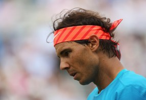LONDON, ENGLAND - JUNE 16: Rafael Nadal of Spain looks dejected in his men's singles first round match against Alexandr Dolgopolov of Ukraine during day two of the Aegon Championships at Queen's Club on June 16, 2015 in London, England. (Photo by Clive Brunskill/Getty Images)