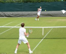 Rafael Nadal Practices With Andy Murray At Wimbledon (3)