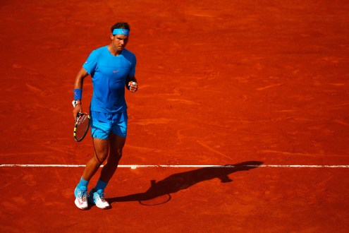 PARIS, FRANCE - JUNE 01: Rafael Nadal of Spain celebrates a point in his Men's Singles match against Jack Sock of the United States on day nine of the 2015 French Open at Roland Garros on June 1, 2015 in Paris, France. (Photo by Julian Finney/Getty Images)