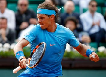 Rafael Nadal of Spain reacts during his men's singles match against Jack Sock of the U.S. during the French Open tennis tournament at the Roland Garros stadium in Paris, France, June 1, 2015. REUTERS/Vincent Kessler