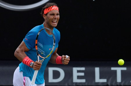 STUTTGART, GERMANY - JUNE 13: Rafael Nadal of Spain celebrates after his match against Gael Monfils of France on day eight of Mercedes Cup 2015 on June 13, 2015 in Stuttgart, Germany. (Photo by Daniel Kopatsch/Bongarts/Getty Images)
