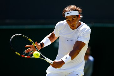 LONDON, ENGLAND - JUNE 30: Rafael Nadal of Spain in action in his Gentlemens Singles first round match against Thomaz Bellucci of Brazil during day two of the Wimbledon Lawn Tennis Championships at the All England Lawn Tennis and Croquet Club on June 30, 2015 in London, England. (Photo by Julian Finney/Getty Images)