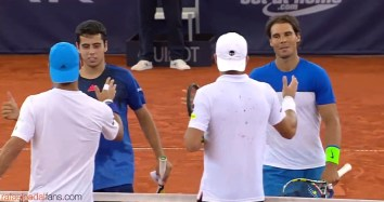 Nadal and Munar went down 6–4 6–2 in their first-round match in Hamburg 2015