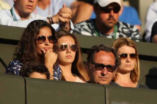 LONDON, ENGLAND - JULY 02: Xisca Perello (L), girlfriend of Rafael Nadal and Benito Perez Barbadillo (R), Rafael Nadal's agent watches Rafael Nadal of Spain and Dustin Brown of Germany during their Gentlemens Singles Second Round match during day four of the Wimbledon Lawn Tennis Championships at the All England Lawn Tennis and Croquet Club on July 2, 2015 in London, England. (Photo by Ian Walton/Getty Images)