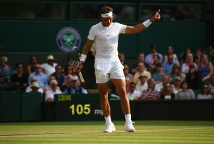 LONDON, ENGLAND - JULY 02: Rafael Nadal of Spain reacts during his Gentlemens Singles Second Round match against Dustin Brown of Germany during day four of the Wimbledon Lawn Tennis Championships at the All England Lawn Tennis and Croquet Club on July 2, 2015 in London, England. (Photo by Ian Walton/Getty Images)