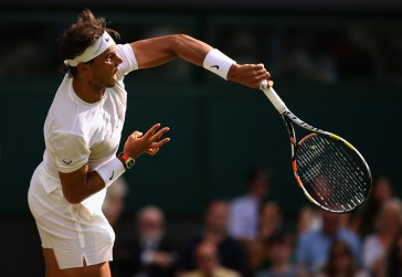 LONDON, ENGLAND - JULY 02: Rafael Nadal of Spain serves in his Gentlemens Singles Second Round match against Dustin Brown of Germany during day four of the Wimbledon Lawn Tennis Championships at the All England Lawn Tennis and Croquet Club on July 2, 2015 in London, England. (Photo by Ian Walton/Getty Images)