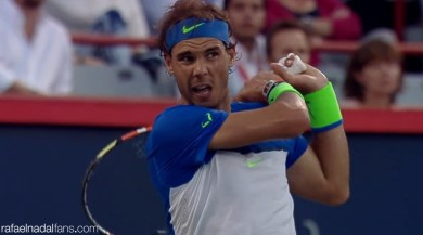 Nadal in action against Youzhny at the Rogers Cup in Montreal R3