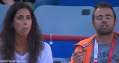 Rafael Nadal girlfriend Maria Francisca Perello and his physio Rafael Maymo eating cookies at Rogers Cup in Montreal