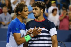 CINCINNATI, OH - AUGUST 20: Rafael Nadal of Spain congratulates Feliciano Lopez of Spain following their match on Day 6 of the Western & Southern Open at the Lindner Family Tennis Center on August 20, 2015 in Cincinnati, Ohio. (Photo by Maddie Meyer/Getty Images)