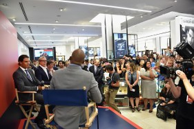 NEW YORK, NY - AUGUST 25: (L-R) Professional tennis player Rafael Nadal, Tommy Hilfiger, and Lloyd Boston, speak to each other as Rafael Nadal makes a personal appearance at Macy's Herald Square at on August 25, 2015 in New York City. (Photo by Mike Coppola/Getty Images for Tommy Hilfiger)