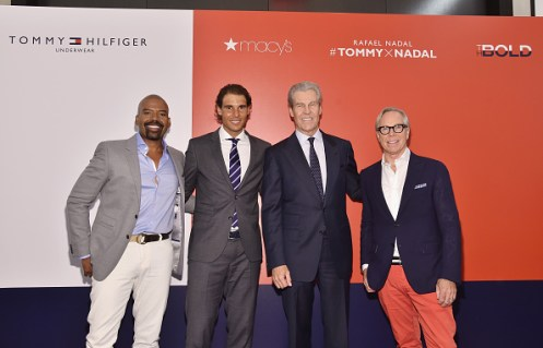 NEW YORK, NY - AUGUST 25: (L-R) Lloyd Boston, Professional tennis player Rafael Nadal, CEO, Chairman of the Board, President, and Director at Macy's, Inc., Terry J. Lundgren and Tommy Hilfiger speak to each other as Rafael Nadal makes a personal appearance at Macy's Herald Square at on August 25, 2015 in New York City. (Photo by Mike Coppola/Getty Images for Tommy Hilfiger)