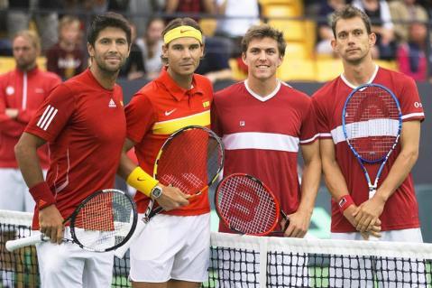 Spain's Fernando Verdasco, Rafael Nadal, Thomas Kromann and Frederik Lochte Nielsen pose before a Davis Cup tennis match in Odense, Denmark September 19, 2015. REUTERS/Frank Cilius/Scanpix Denmark