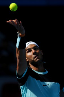 BEIJING, CHINA - OCTOBER 10: Rafael Nadal of Spain serves in his semi final match against Fabio Fognini of Italy on day 8 of the 2015 China Open at the National Tennis Centre on October 10, 2015 in Beijing, China. (Photo by Chris Hyde/Getty Images)