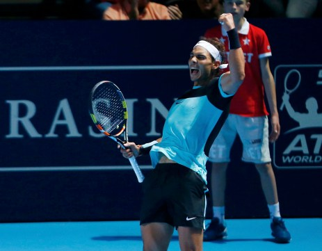 Rafael Nadal of Spain reacts after winning his match against Czech Republic's Lukas Rosol at the Swiss Indoors ATP men's tennis tournament in Basel, Switzerland October 26, 2015. REUTERS/Arnd Wiegmann