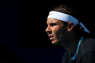 BEIJING, CHINA - OCTOBER 09: Rafael Nadal of Spain looks on in his match against Jack Sock of the USA on day 7 of the 2015 China Open at the National Tennis Centre on October 9, 2015 in Beijing, China. (Photo by Chris Hyde/Getty Images)