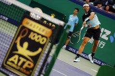 Rafael Nadal of Spain serves the ball during his men's singles semi-final match against Jo-Wilfried Tsonga of France at the Shanghai Masters tennis tournament in Shanghai, China, October 17, 2015. REUTERS/Damir Sagolj