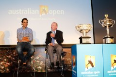SHANGHAI, CHINA - OCTOBER 13: Tennis legend Rod Laver (R) speaks by Rafael Nadal (L) of Spain during the Australian Open 2016 Launch at The Shook on October 13, 2015 in Shanghai, China. (Photo by Hu Chengwei/Getty Images for Tennis Australia)