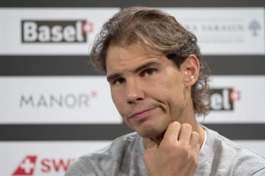 Spain's Rafael Nadal speaks during a press conference at the Swiss Indoors tennis tournament in the St. Jakobshalle in Basel, Switzerland, 24 October 2015. (Tenis, Suiza, Basilea) EFE/EPA/GEORGIOS KEFALAS