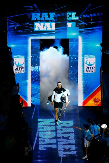 LONDON, ENGLAND - NOVEMBER 18: Rafael Nadal of Spain walks out ahead of his men's singles match against Andy Murray of Great Britain during day four of the Barclays ATP World Tour Finals at the O2 Arena on November 18, 2015 in London, England. (Photo by Julian Finney/Getty Images)